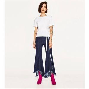 ZARA asymmetric flare denim jeans